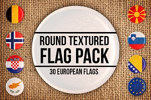 Round textured European flags pack