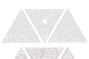 Complicated triangle labyrinths
