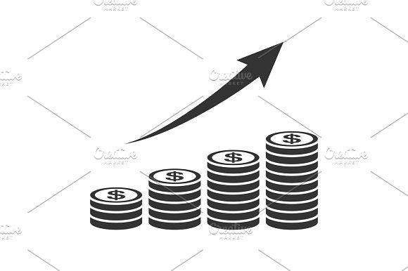 Salary Progress Coin Graph Icon