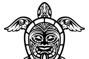 Vector Turtle Polynesian Tattoo