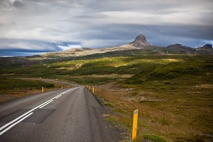 Highway through Iceland Mountains
