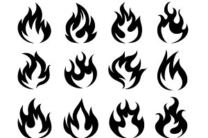 Vector Black Fire Flame Icons