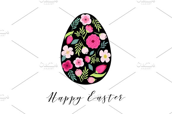 Beautiful Vintage Happy Easter Card As Egg Shaped Frame With Hand Drawn First Spring Flowers