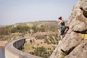 woman practicing climbing