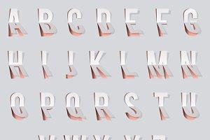 Bent paper cut font