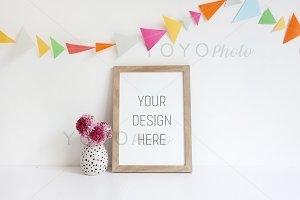 Wooden Frame Mockup with Bunting