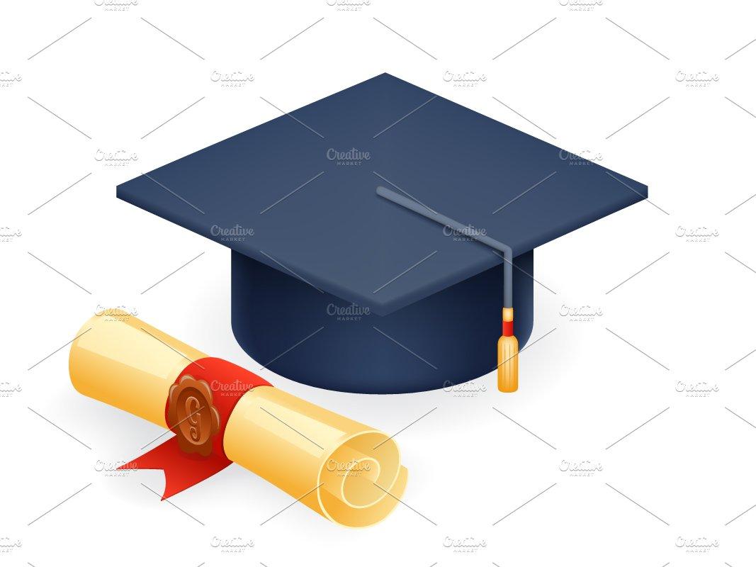 graduation cap with scroll illustrations creative market