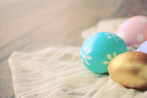 Pastel colorful easter eggs