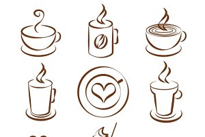 coffee cup vector symbols