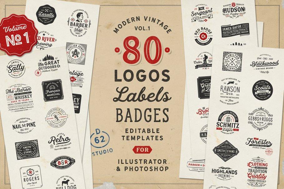 6a1b44ae96 80 Modern Vintage Logos vol 1 ~ Logo Templates ~ Creative Market