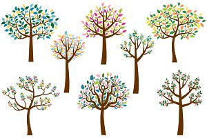 Trees with colorful leaves clip art