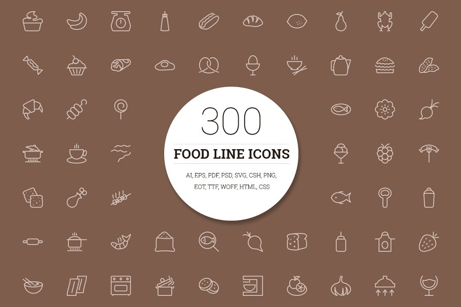300 Food Line Icons