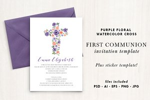 Watercolor Purple Flower Cross