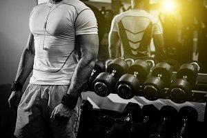 bodybuilder in gym close up