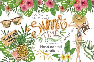Summer Time Hand-painted Clipart