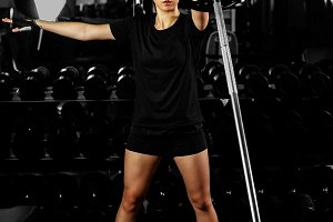 asian fitness girl weightlifting