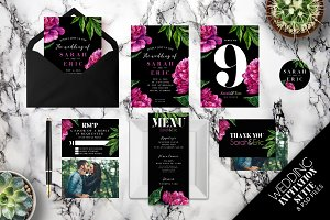 Pink Blooms Wedding Invitation Suite