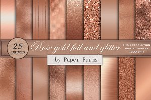 Rose gold foil and glitter