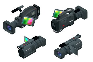 Professional digital video camera. Flat 3d isometric illustration for infographics and design. Camcorders and Equipment.