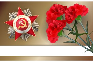 9 may retro carnation red flower victory day