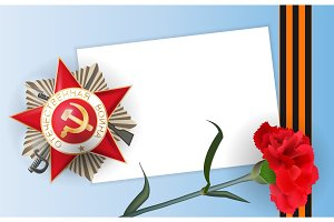 9 may carnation red flower medal star victory day