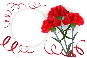 Realistic red flower carnation greeting isolated