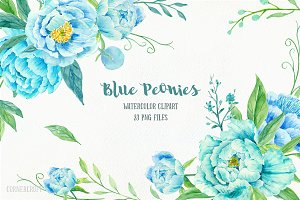 Blue Peony Clip Art Watercolour