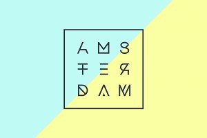 Poster with text Amsterdam, Netherlands in geometric style