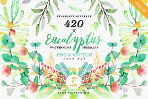 -75% Greenery Watercolor Eucalyptus3