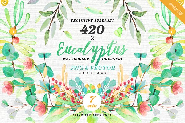 -75% Greenery Watercolor Eucalyptus…