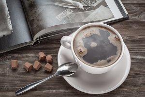 The book, coffee, chocolate.