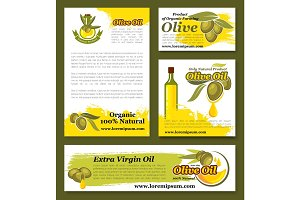 Olives, olive oil product vector templates set