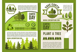 Vector posters or brochure for earth day ecology