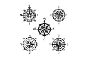 Marine or nautical compass navigation vector icons