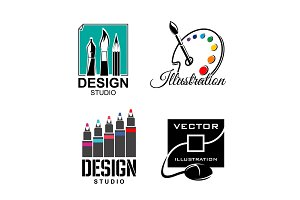 Graphic designer or design studio vector icons