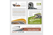 Vector safety road construction service posters