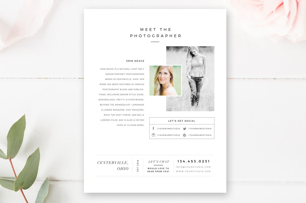About Me Page For Photographers Flyer Templates Creative Market