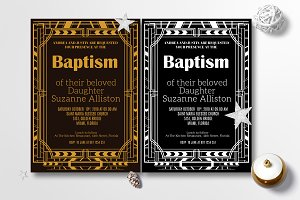 Art Deco Baptism Invitation Card