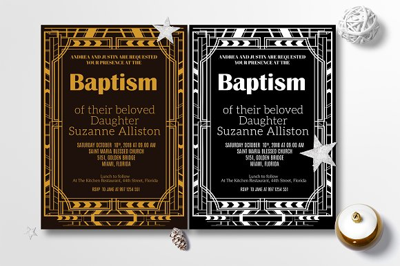 Art Deco Baptism Invitation Card