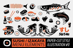 Papercut Style Sushi Elements