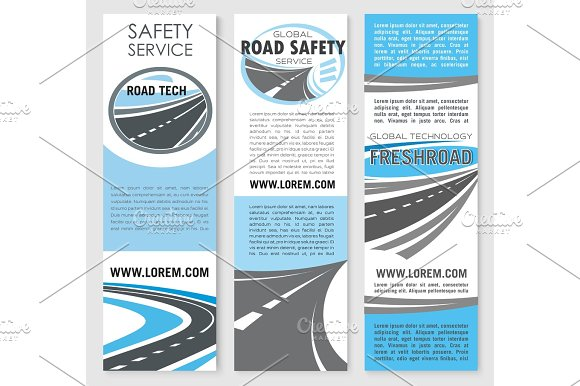 Vector safety road construction service banners in Illustrations