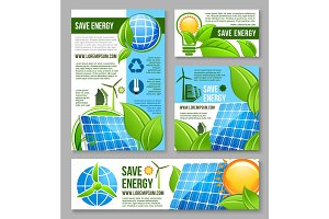 Save energy business banner template design