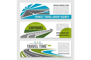 Road travel company vector banners set