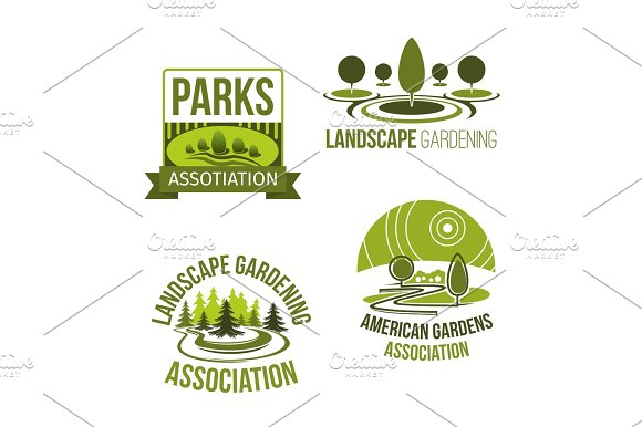Vector Icons For Landscape Gardening Company