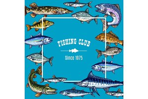 Vector sketch poster template for fishing club