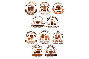 Coffee vector icons for cafeteria or cafe