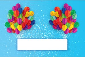 Colorful Flying Paper cut balloons. Happy Birthday Greeting card. Origami Rectangle frame - space for text.