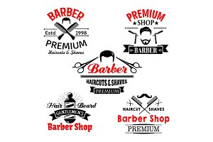 Barber shop premium salon vector icons set