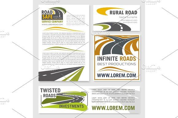 Vector Banners For Road Construction Investment