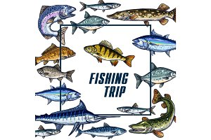 Vector poster template for fishing trip sketch